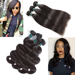 hair straightening machines Coupons - Real Remy Human Hair 3 4 Bundles Straight Body Wave Unprocessed Brazilian Virgin Hair Weave Wefts Hair Extension Grade 10A Natural Color