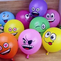 2019 ballons souriants 12 pouces Funny Big Eyes Smiley Helium Ballons En Latex Pour Les Fêtes De Mariage D'anniversaire Fête Des Enfants Articles De Fête DEC377 ballons souriants pas cher