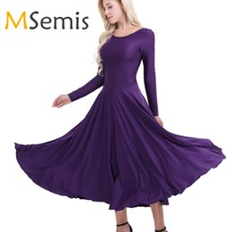 3b164381a8 MSemis New Women Adult Elegant Ballet Dress Polyester Round Neck Long  Sleeves Loose Fit Liturgical Praise Dance Dress for Women