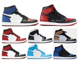 Wholesale Purple Fabric Cotton - High Quality Retro 1 OG Chicago UNC Royal Bred Basketball Shoes Men 1s Banned Gold Top 3 Black Toe Sneakers With Shoes Box