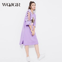 Wholesale Thin Cartoon Characters - WQJGR 2018 New Dress Women Summer Plus Size Stitching Perspective Mesh Thin Tide Cartoon Character Printing T-shirt Dresses
