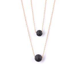 0fd5c381609509 2019 halsketten schwarz Multilayer Black Lava Stein Halskette Lava Rock Bead  Ätherisches Öl Diffusor Halskette Anhänger