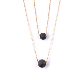 Collar de Piedras de Lava Negra Múltiples capas de Roca de Lava Collar de Difusor de Aceite Esencial Colgantes Gargantillas Joyería de Moda de Mujer NAVAJA DE GOTA 162642 desde fabricantes