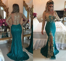 Wholesale Club Turquoise - 2017 Turquoise Hunter Mermaid Long Sleeve Evening Dresses Sparkly Rhinestones Beaded Lace Appliques Split Prom Dresses Illusion Back