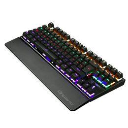 Conmutadores de teclado azul online-Mecánico 87 Teclas Interruptor azul Juegos Iluminar Retroiluminación Retroiluminación Anti-fantasma LED Teclado Muñeca Pro Gamer pegatina rusa