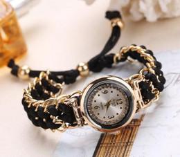Goldkette armbanduhren online-Mode Freizeit Hohe Qualität Frau Uhr Frauen Strickseil Kette Wicklung Quarzwerk Armbanduhr