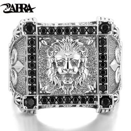 Wholesale Mens Anchor Rings - ZABRA Gothic Real 925 Sterling Silver Ring Mens Lion King Mosaic Black Cubic Zirconia Anchor Vintage Punk Jewelry For Men