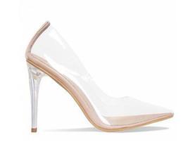 Sandali nudo stiletto colore online-Scarpe con tacchi alti in PVC trasparente Scarpe donna Scarpe con tacchi a spillo nudi color arancio chiaro Sandali donna con punta a punta