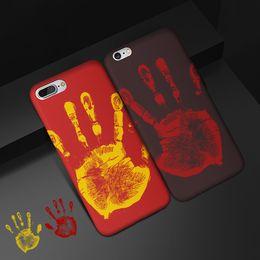 Wholesale temperature color change plastic - Thermosensitive Color Change Case Magical PU Fingerprint Cover Temperature Fluorescent Thermal Sensor Heat For iPhone X 8 7 Plus 6 6S 5 5S