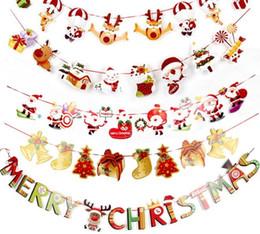plantas artificiais luzes led Desconto Natal Papel Bandeira Bandeira Feliz Natal Papai Noel Boneco De Neve Elk Presente Bandeiras Xmas Decoração Multi Designs