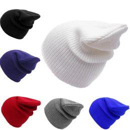 Wholesale winter hats flaps - adult Knitted Hats Solid Color Winter Hat Caps Soft Bonnet beanie ear flaps Skullies Knit Hip Hop Beanie Warm Cap KKA3846