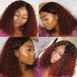 Wholesale Silk Top Kinky Lace Wigs - Ombre #1bT30 Kinky Curly Silk Top Full Lace Wigs With Natural Hairlines 100% Unprocessed Human Hair Wigs Bleached Knots Lace Front Wig
