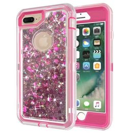 Wholesale Bling Defender Iphone Cases - Fashion Bling Liquid Quicksand Crystal Robot Case For iPhone 7 Plus 6 6S Plus Defender Rugged Hybrid Cover