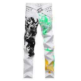 Wholesale clubwear plus - Spring Mens Designer Jeans Hip Hop Fashion Slim Wild Print Pant Clubwear Trouser Plus Size 30-40
