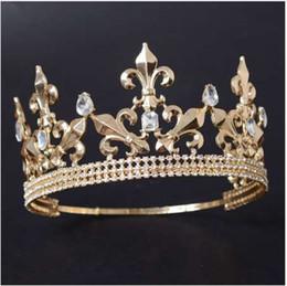 Canada Réglable Rond Or / Argent Mariage Roi Tiara Couronne Headpiece Pour Hommes Parti Cheveux Ornements Strass Tête Bijoux Accessoires Offre
