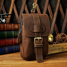 Cajas del teléfono celular del vintage online-Hombres Vintage Waist Pack Hombres Travel Brand High Quality Cell / Mobile Phone Case Hook Fanny Belt Bag wallet