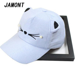 Wholesale pearls baseball cap - Pearl Cotton Cat Ear Summer Baseball Cap Women Adjustable Hat Snapback Caps For Girl Lady Sports Hat