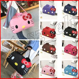 Bolsas de cosméticos para gatitos online-Cute Cartoon Hello Kitty Mujeres grandes plegables plegables bolsa de viaje de mano Maletines de maquillaje Bolsas de cosméticos 10 colores
