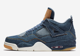 Wholesale Newest Low Cut Basketball Shoes - Newest Release Air Retro 4 Denim Retro 4s Blue Jean Jiont Limited Man Basketball Shoes Sneakers Authentic Quality AO2571-401 With Box