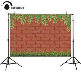 Folhas verdes papel de parede on-line-Atacado fotografia fundo parede de tijolo vermelho textura enquadramento de folhas verdes e grama wallpaper new arrival background booth
