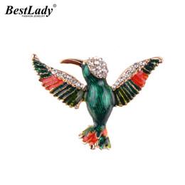 Wholesale Luxury Boho Fashion - Best lady Multi Color Rhinestone Bird Brooch Pins Fashion Women Statement Jewelry Animal Boho Luxury Scarf Pendant Brooch 5421