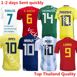 Wholesale Argentina Messi Jersey - Spain Isco Argentina messi Japan Colombia Belgium Russia Mexico Sweden Uruguay Brazil Peru Switzerland Ronaldo Soccer Jerseys 2018 Shirt Kit