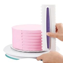 Argentina 3 unids 6 estilo pastelería glaseado Peine Set plástico Fondant espátulas Cake Scraper herramienta de decoración de pasteles Cake Kitchen Bakeware Tool Suministro