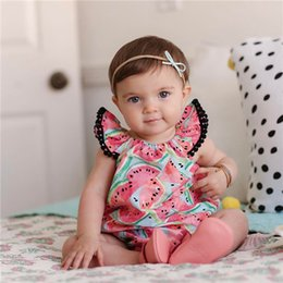 Wholesale cute clothes for baby girls - Baby Romper Summer Infant Cute Watermelon Print Jumpsuit for Girls Clothing Kids Fashion Boutique Children Clothes