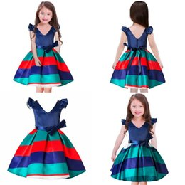 Wholesale Girl Strips Dress - Baby Girls Strips Print Dress Prom Party Kids Fly Short Sleeve Bow Tu tu Skirts Summer Clothing