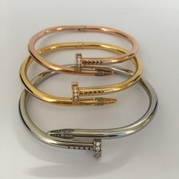 Wholesale Nail Bracelet Diamonds - Three Colors Fast Shipping Quality Custom AAA Cubic Zirconia Micro Pave CZ Diamond Rose Gold Plated Nail Bangle Bracelet Design for Women