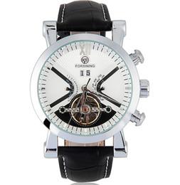 2019 оберточная черная кожа 2018 FORSINING кожа наручные часы Wrap мужские часы автоматические часы золотой корпус календарь мужские часы черный механические часы A513 дешево оберточная черная кожа