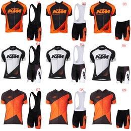 Wholesale Mens Cycling Jersey Sets - 2018 KTM Mens Cycling Jersey Set Summer Mtb Bike Clothing Bicycle Short Sleeves shirts 3D Bib Shorts Suit Maillot Ciclismo Sportswear C2209