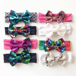 boutique de arcos para niñas al por mayor. Rebajas 2018 Boutique Baby Girl Hairbows Elásticos Headbands Baby girl Lentejuelas Shining Hair Bows Knot Bows accesorios para el cabello Venta al por mayor Mermaid Sequins