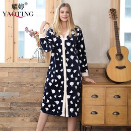 Wholesale Thick Nightgown - Women Thick Warm Sleep Lounge Flannel Dress Robe Polka Dot Sleepwear Nightwear Nightgown Bath Robe Autumn Winter