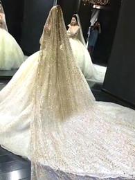 Lange schleier perlen online-Funkelnde Pailletten, die Brautschleier bördeln, 1.5 * 3M lange Schichten mit Kamm-einfachen weichen Tüll-Hochzeits-Schleier