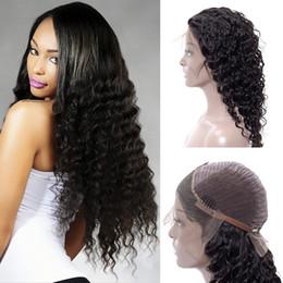 Dame jungfrau haare online-Sexy Deep Wave Lace Front Perücken 8 Grade India Virgin Hair Perücke für Black Girl Natural Black Lace Echthaar Perücken
