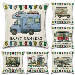 Wholesale Pillow Throws - Happy Campers Touring Car Pillowcase Throw Linen Pillow Case Sofa Cushion Cover 45*45CM Home Cafe Office Decor Gift for Housewarming Party
