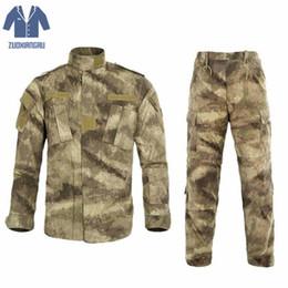 combinaison de combat tactique Promotion Hommes Ghillie Costumes US ACU Armée Coton Polyester Hommes Noir Python Camouflage Uniforme Tactique Combat Camo Uniformes 1 Ensemble