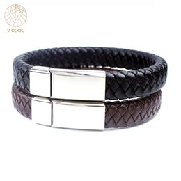 Wholesale Custom Magnetic - whole sale040 Casual Men Female Braided Bracelets Custom Made Stainless Steel Jewelry Magnetic Clasp Handmade Genuine Leather Bracelets