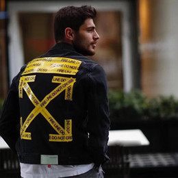 Wholesale men s black denim jacket - 18SS C O VIR GIL AB LOH Black Denim Jacket Inked Printed Men Women Coats Fashion Highstreet Hip Hop Denim Jacket HFLSJK079