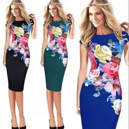 3d6d1f01558 vestidos женщины дамы офис dress повседневная элегантный Cap рукавом  цветочный принт Bodycon работа Украина карандаш Dress 5xl FS1553 дешево  платье для ...