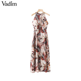 Vadim women sexy halter floral maxi dress back bow tie sleeveless backless  split female party wear chic dresses vestidos QA336 discount sexy female  summer ... e3d001f14d36