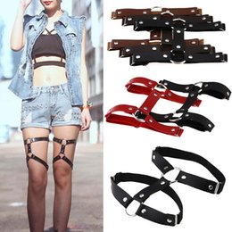 Wholesale Leather Harnesses For Women - Sexy Harajuku Style PU Leather Garter Belts for Women Punk Leather Garters Leg Ring Harness Gifts One Free Adjustable Size