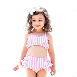 Wholesale 4t Girls Swimsuit - Baby Striped Swimsuit 2018 summer kids Striped swimwear Boutique girls Bikinis children Clothing C4072
