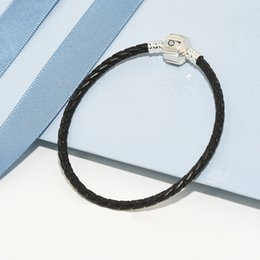 Black leather weave bracelet online-Luxury Fashion Donna Uomo Nero 100% Vera Pelle intrecciata Bracciali Bracciale Originale per Pandora Charms Bracciale in Argento 925
