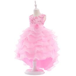 Vestito da ragazza di fiore rosa per matrimoni con stile abito da ballo Piccola principessa in pizzo con fiocchi Flower Girl Dresses 2019 da