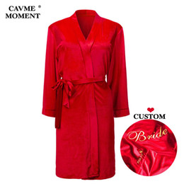 велюровый халат  Скидка CAVME CUSTOM Velour Bathrobes Solid Color Autumn Winter Robes Bride Bridesmaid Robe Kimono Sexy Long-Sleeve Night Dressing Gown