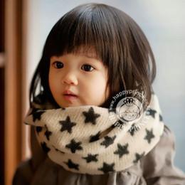 Корейские детские кольца онлайн-Korean  Knitted Warm Winter Scarf Ring Woolen Cotton Cute Children Kids Baby Girls Neckerchief Shine Star Pattern Scarves