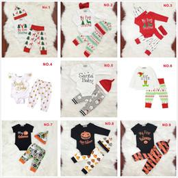 Wholesale girl xmas shirts - 0-2 Years Baby Boys Girls Christmas Xmas Halloween Clothing Sets Romper T-Shirt Pants Cap Outfits 9 Designs