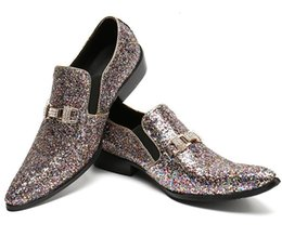 Wholesale Photography Works - fashion rhinestone buckle design casual shoes men loafers pointed toe career work party dance shoes photography shoes